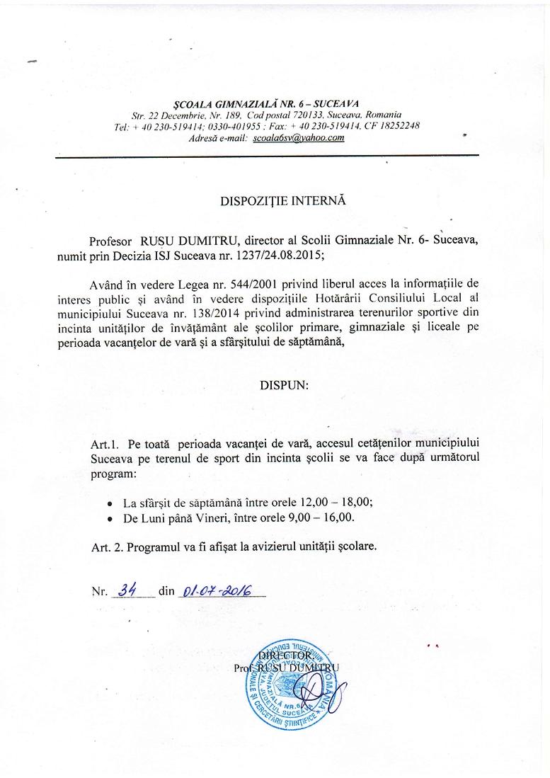 Programul de acces pe terenul de sport al Școlii Gimnaziale nr. 6 Suceava