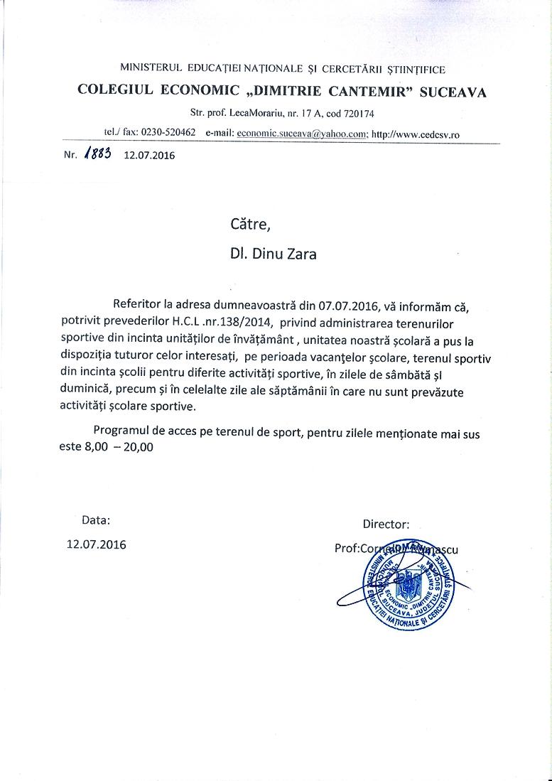 Programul de acces pe terenul de sport al Colegiului Economic Dimitrie Cantemir Suceava