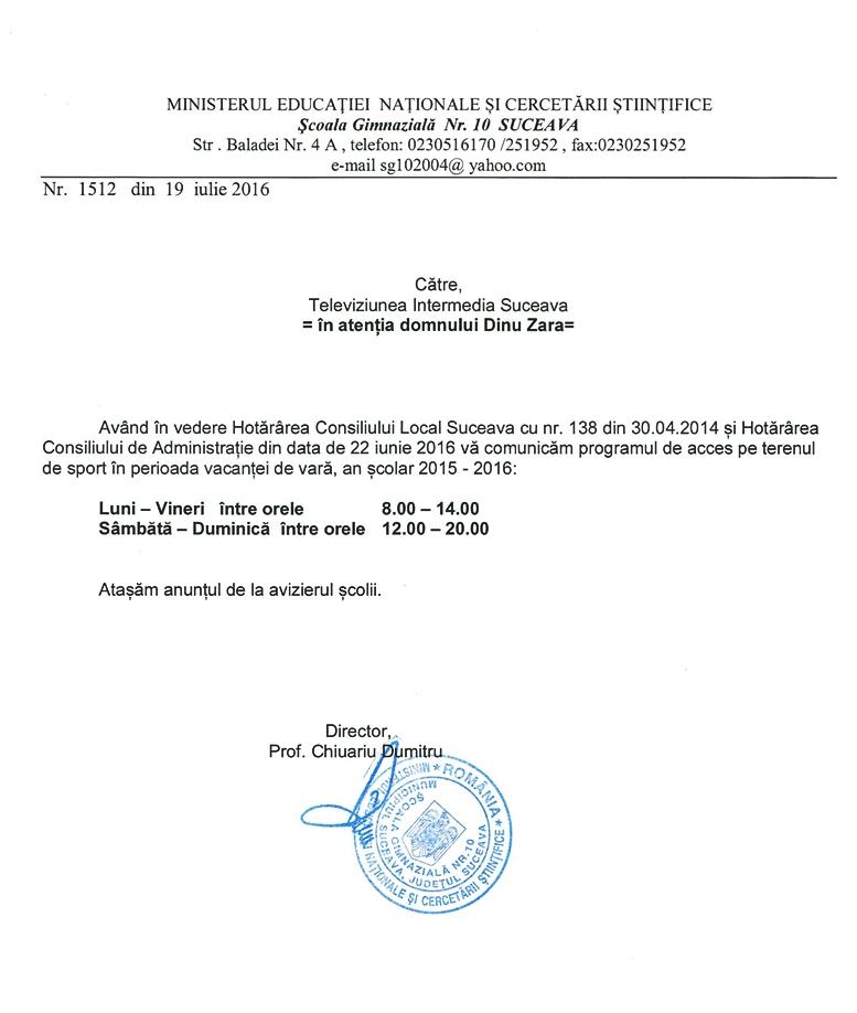 Programul de acces pe terenul de sport al Școlii Generale nr. 10 Suceava